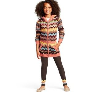 Missoni Girls Chevron Zip Front Sweater Cardigan